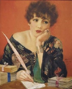 Lady with quill